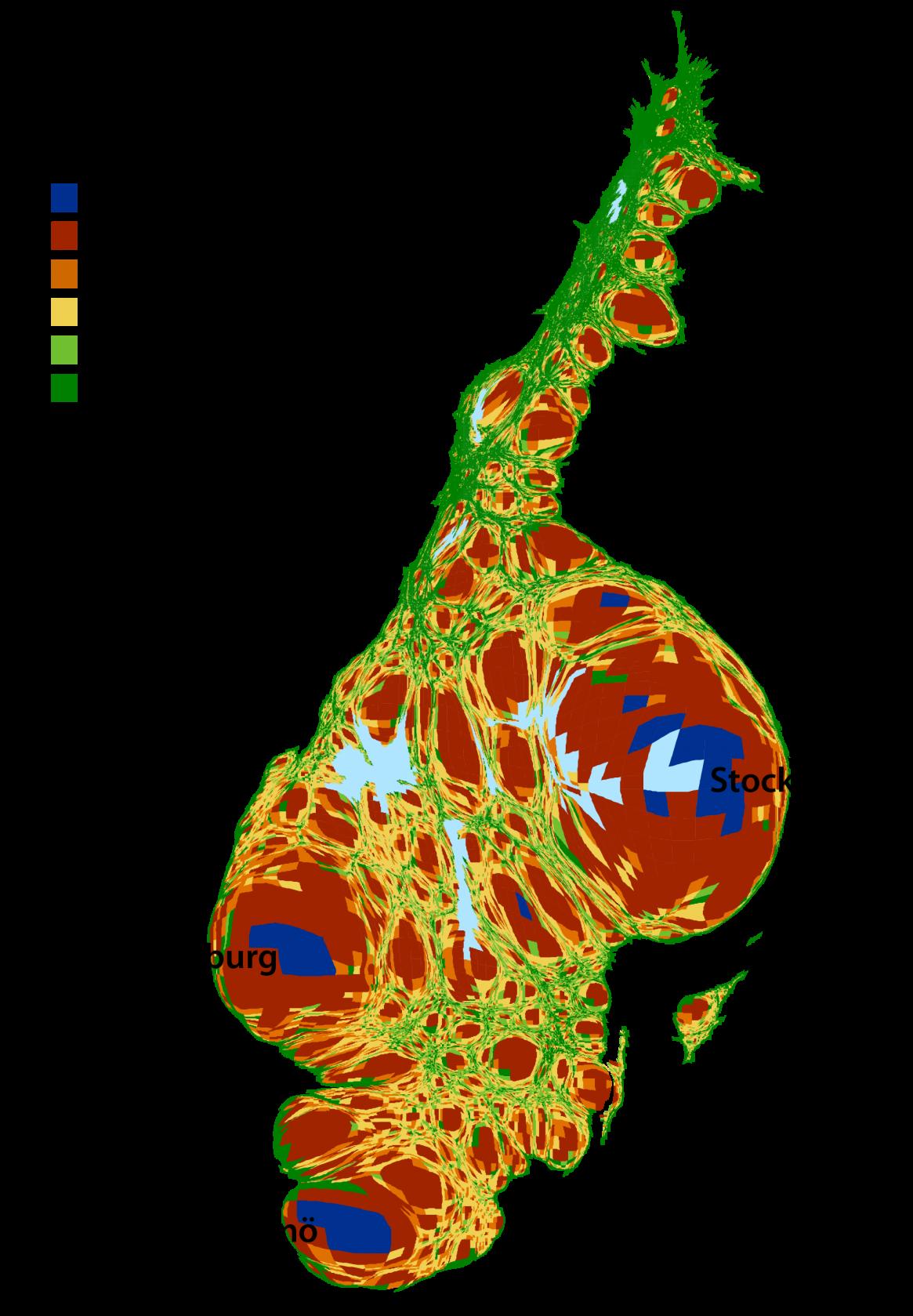 Visualisation The Shape Of Sweden According To Population - Sweden map population density