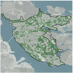 GIS tools reveal that Lidingö is the greenest urban area in Sweden
