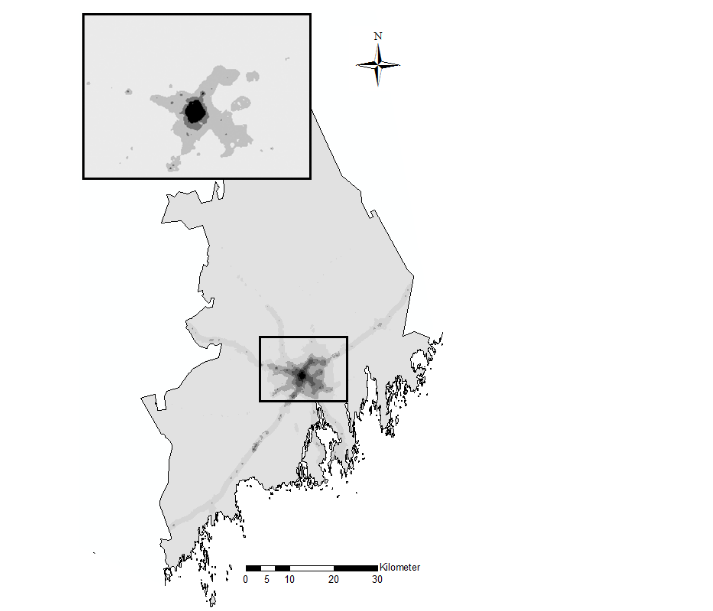 Using grid data in order to relate Traffic-Related Air Pollution and Dementia Incidence in Northern Sweden.